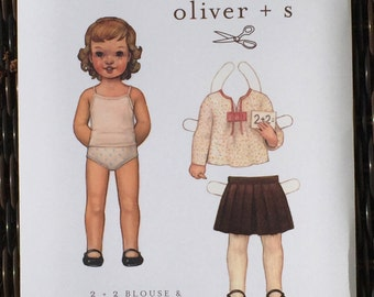 Oliver + S 2 + 2 Blouse & Pleated Skirt paper pattern sizes 4 5 6 7 8