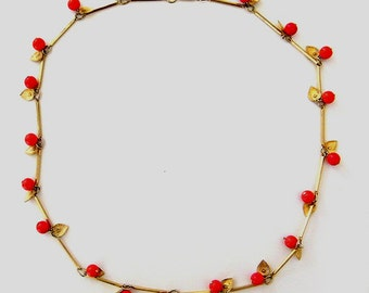 Vintage unsigned red apples necklace