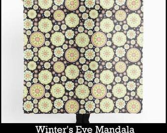 Winter's Eve Scarf Chiffon large square boho elegant mandala watercolour textile pattern by Maine artist Patricia Shea
