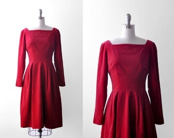 60's red dress. velvet. 1960's full dress. long sleeve. small. 50 60 party dress. s. vintage.