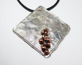 Studio Artist Pendant Necklace - Choker Length Sterling Silver - Diamond Shaped - Copper Beads - Hammered Silver - Vintage Modern 1980's