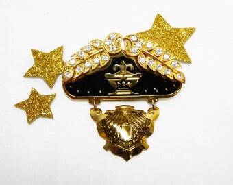 Berebi Signed Black and Gold Brooch - Vintage 1980's - 1990's era - Rhinestone Laurel Leaf Swag
