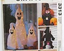 Halloween Decorations, Witch and Cat Greeters, Pumpkin Draftdodger, Draft Buster, Draftstop, Ghosts Mccall's 3313 Craft Pattern UNCUT