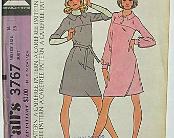 RARE Vintage 70's Misses' Pullover Dress for Unbonded Stretchable Knits McCall's 3767 Sewing Pattern UC Size 16