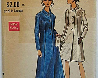 Vintage 60's Misses' Coat in 2 Lengths with Martingale Belt, Evening Length, Maxi Vogue 7297 Sewing Pattern UNCUT Size 8