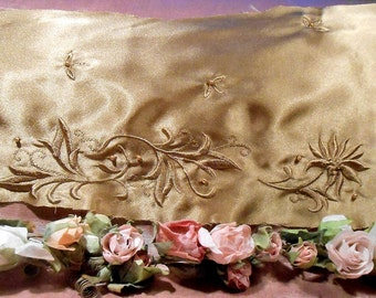 Vintage Fabric Bronze Gold Embroidered 1930s Dress Remnant