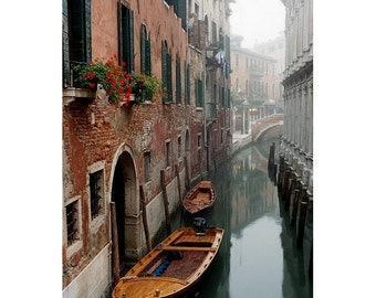 "Fine Art Color Photography of Venice  - ""Morning Mist On a Narrow Canal"""