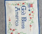 God Bless America Embroidery Sampler / Suitable for Framing / Americana Folk Art Red and Blue Embroidery On Linen Vintage Linen