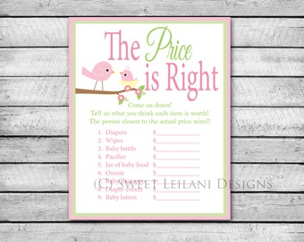 Price is Right | Pink Birds | Instant Download | DIY Printable | Baby Shower Game