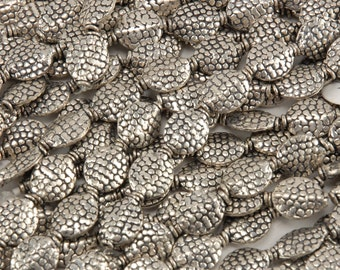 German Silver Oval Beads with Bang Granulation
