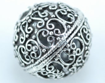 Round Sterling Silver Focal Bead (U)