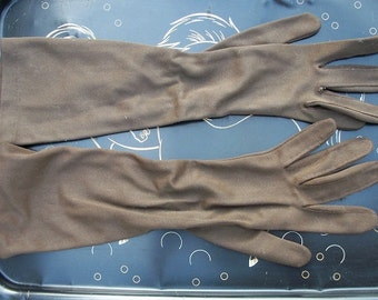 Vintage Women's Gloves Long Brown Shalimar Nylon