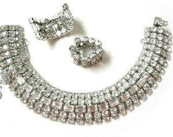 Vintage Clear Rhinestone Bracelet Clip Earrings Vintage Jewelry Set Jewelry Gift for Her For Mom Under 75 Set Holiday Jewelry