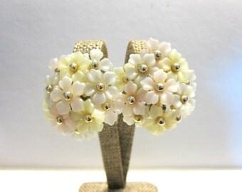 Pastel Thermoplastic Flower Earrings Clip Large Vintage Wedding Earrings