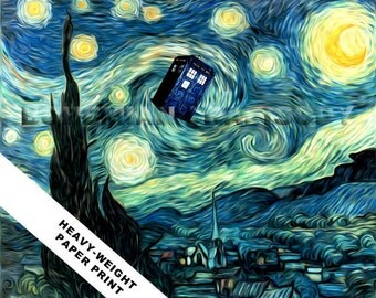 Doctor Who van Gogh Starry Night TARDIS art print 8x10 Heavy Textured Paper Print