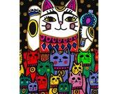 Neko Cats Art  Print Poster by Heather Galler Japanese Folk Art Lucky Cat Fortune Cat Statues