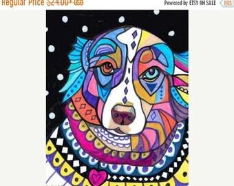 Marked Down 50% - Australian Shepherd Art Print Poster of Painting  art dog Poster Print of painting by Heather Galler of Painting (HG149)
