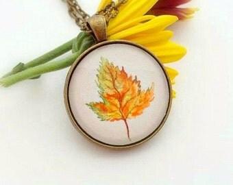 Maple Leaf Necklace- Fall Leaf Necklace- Hand Painted Pendant- Japanese Maple Leaf- Autumn Necklace- Fall Necklace- Botanical Necklace