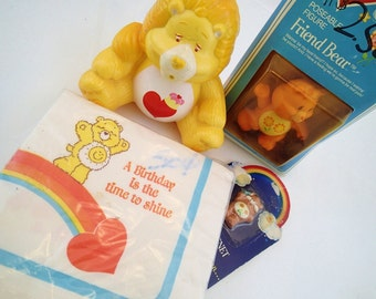 Vintage Care Bears Random Toys and Merchandise Lot Brave Heart Lion Radio MIB Friend Bear Napkins Magner Original 80s Toy Kenner Pastel Baby