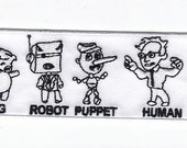 "Bernie Sanders ""Pig Robot Puppet - HUMAN"" 3-inch patch"