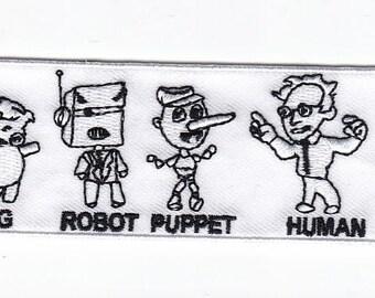 """3"""" Bernie Sanders """"Pig Robot Puppet - HUMAN"""" patch"""