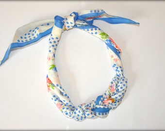 Spring Pastel Vintage Scarf Necklace - Blue Polka Dots and Flowers