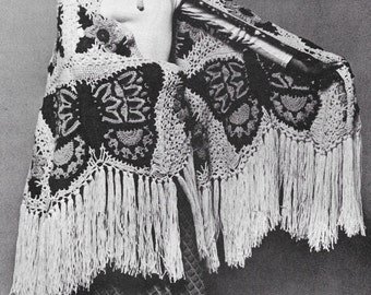 Vintage Crochet Pattern 1970s Hippie Bohemian Butterfly Shawl Long Fringe & Wallhanging (2 patterns) Instant Download PDF majikhorsefabrics