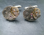 Industrial Watch Movement Cufflinks with genuine mechanical watch movements