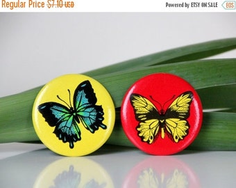 50% OFF Set of two Vintage USSR pins, butterflies