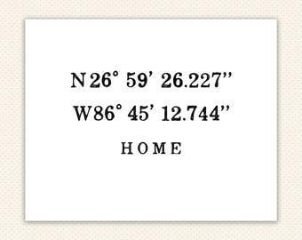 Custom GPS Coordinates Print, GPS print, housewarming gift