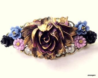 Cabbage Rose Garden Barrette,Vintage Style Filigree Barrette,Sexy Hair Jewellry,Bride Accessory,Bridesmaid Gift,Gothic Wedding,Neo Victorian