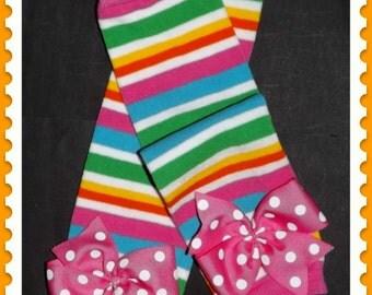 Candyland birthday, girl leg warmers, baby leg warmers with bows, toddler girl socks, striped leggings