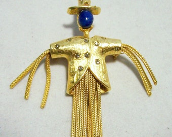 Crystal Rhinestone Scarecrow Pin Gold Tone Dangling Arms Body Vintage Jewelry 716DGZ
