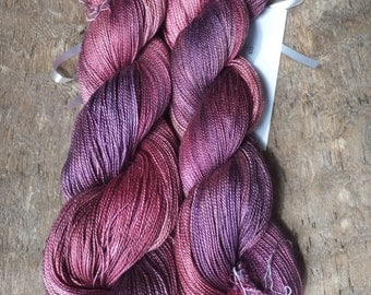 Raspberry and Wine - Hand Dyed Silk Lace Yarn