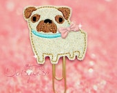 PUG DOG Glitter Paper Clip in off white and brown