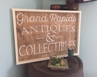 Vintage Inspired Grand Rapids Antiques and Collectibles Stained Distressed Framed Wood Sign