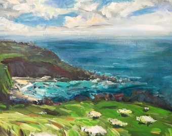 "Cornish View 18""x18"" original painting 18x18"" acrylics on canvas"