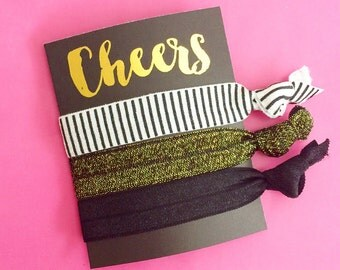 1 Set of 3 Hair Ties Bachelorette Party Favors KIT Accessories Gift Bridesmaids Cheers Small Thank You Fabulous Awesome Gold Foil Black
