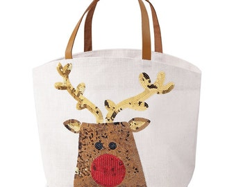 Christmas Sequin Tote, MudPie Christmas Tote, Holiday Tote, Santa Tote Bag