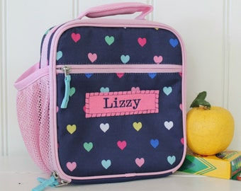 Lunch Bag With Monogram Classic Style Pottery Barn -- Navy/Pink Heart