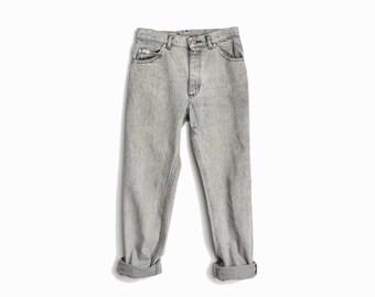 Vintage 90s Gray Stonewashed Ankle Jeans  / 90s Boyfriend Jeans / Gray Denim / Cropped Lee Riders - W 28 x L 28