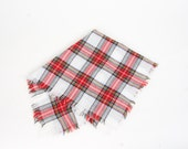 White and Red Tartan Plaid Small Fringed Scarf Vintage Square Woven Neck Head Scarf 27 inches Men Women
