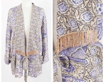Lavender and Taupe Patterned Jacket Ethnic Print Wood Bead Fringe Lightweight unstructured jacket Carole Little Medium Large