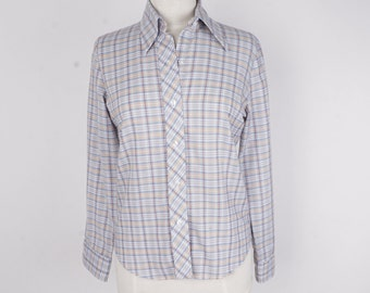 Wide Collar Pan-Tree Lightweight Plaid Shirt Ladies Long Sleeve Check Shirt White Blue Gold Medium