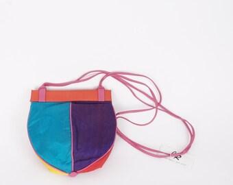 NWT vintage J Renee 80s vintage shantung silk and leather shoulder bag bright colorful color block purse