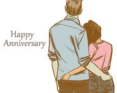 Happy Anniversary Couple, Illustrated Greeting Card