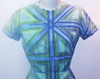 AUTUMN ARRIVAL 25% OFF 1950s Blue and Green Wiggle Dress - Vintage 50s Mancini of California