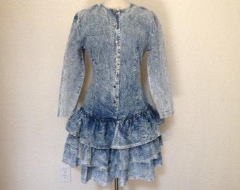 Vintage Denim Dress / Blue Jean Prom Gown 80's Acid Washed Dress