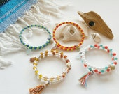 Beaded Beach Glass Stackable Bracelets