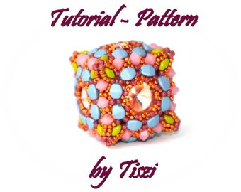 Beading pattern, tutorial for a beaded bead, beaded cube Freja, beaded bead pattern, step by step instructions, PDF pattern
